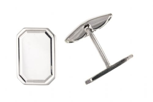 Sterling Silver Plain Edged Octagonal Cufflinks With T Bar Fitting